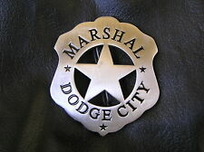 MARSHAL of DODGE CITY BADGE - Silver - SHERIFF Marshal of the Old West