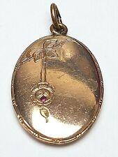 Goldmedaillon Schaumgold 416er Rotgold kleiner Rubin um 1890 / A 516
