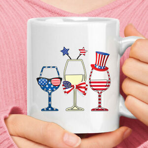 Personalized Blue White Red Glass American Flag 4th Of July White Coffee Mug