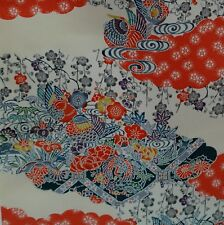 JAPONAIS VINTAGE KIMONO SOIE TISSU CANARDS MANDARIN ET Ume