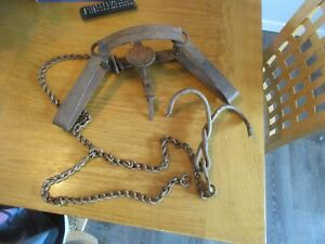 Vintage Newhouse ATC No 4 1/2 Double Long Spring Wolf Trap