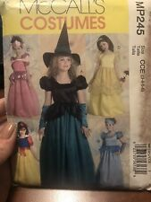 McCalls MP245 Pattern Princess Costumes Witch Uncut Childs 3,4,5,6 Halloween