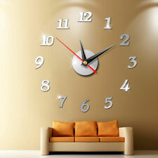 2019 Modern Large Wall Clock 3D Mirror Sticker Unique Big Number Watch DIY Decor