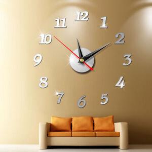 2021 Modern Large Wall Clock 3D Mirror Sticker Unique Big Number Watch DIY Decor