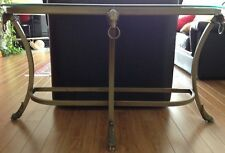 Vintage rare table console base brass gold handcrafted and with glass top