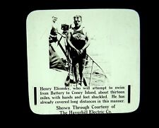 Magic Lantern Slides Henry Elionsky Shackled Stunt Swimmer Coney Island NYC 1915