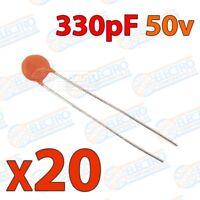 Mini condensador ceramico de 330pf 50v ±20/80% - Lote 20 unidades - Arduino Elec
