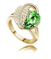 Meravigliosi Oro & Verde Intenso Cristallo Anello Foglia Misura Media O 17 mm