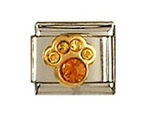 Italian Charms Paw Print Birthstone November  Citrine