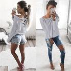 Women Winter Long Sleeve Plunge V Neck Blouse T Shirt Loose Jumper Tops Pullover