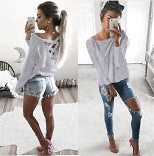 Women V-Neck Lace Up Bandage Casual Blouse Chiffon Tops Long Sleeve Tee T-Shirt