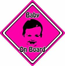 Baby/Child On Board Car Sign ~ Baby Face Silhouette ~ Neon Pink