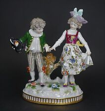 Antique Porcelain Figurine Young Boy and Girl - Very Sweet - A