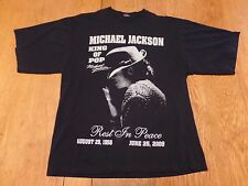 #2356-8 Michael Jackson Rest In Peace 1958-2009 B&W Wearing Fedora Graphic Tee L