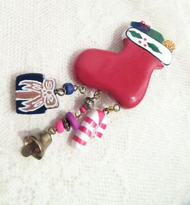 Vintage Christmas Pin Lucite Stocking Three Charms