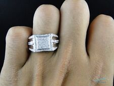 Diamond Ring Mens Square 10K White Gold Fashion Statement Pinky Band 1.50 Ct