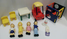Little Tikes  dollhouse  people ,table, cozy coupe, dog assorted lot