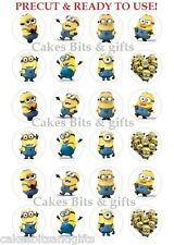 24 MINION Edible Cupcake Toppers, Pre Cut & Ready to Use. Despicable Me Minions