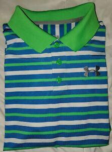Under Armour HeatGear Boy's XL Blue/Lime Striped UA YXL Loose Polo Shirt EUC