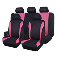 Full Set Universal Polyester Mesh Car Seat Covers Set Washable Pink Black