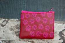 "Handmade Pink Puketti OIL CLOTH 3x4"" coin purse, wallet , Finland Marimekko"