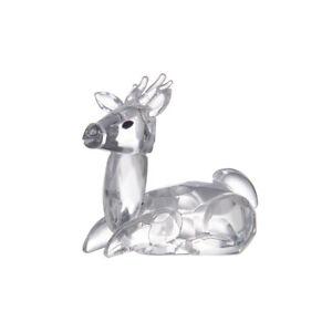 LONGWIN Crystal Animal Figurines Mini Glass Sika Deer Statues Home Table Decor