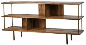 "67"" L Odetta Console Table Reclaimed Teak Wood Antique Brass Metal Contemporary"