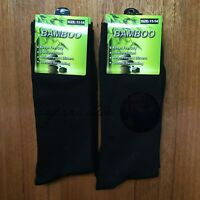 3 Pairs SIZE 11-14 95% BAMBOO SOCKS Men's Premium Work/School Socks Black