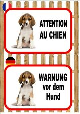 Beagle Beware of the Dog Sign ATTENTION AU CHIEN  WARNUNG VOR DEM HUND