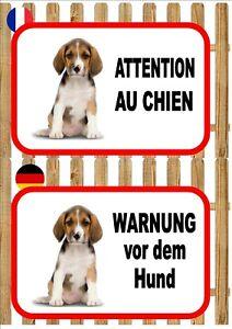 Beagle Beware of the Dog Sign ATTENTION AU CHIEN  WARNUNG VOR DEM HUND