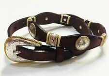 Tony Lama Concho Belt Women's 28 Brown Rawhide Leather 9127L Scalloped Edge