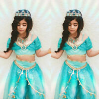 Kids Aladdin Costume Princess Jasmine Outfit Girls Sequin Party Fancy Dress