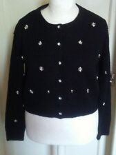 BNWT PRIMARK BLACK CARDIGAN WITH PEARL AND DIAMANTE STYLE DETAILING SIZE M