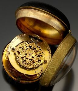 Rare Antique French Oignon Center Wind Bobilier Pocket Watch CA1700s