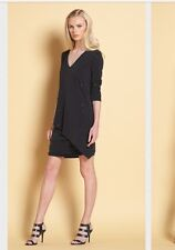 Clara Sun Woo Soft Shimmer V-Neck Long Sleeve Runched Dress W/Loose Overlay NWT