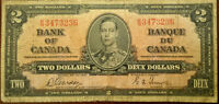 1937 Bank of Canada $2 Dollar Bank Note Two Dollar Bill