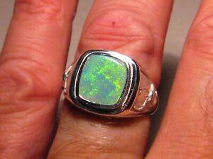 Men's  Opal deer  Ring   Sterling silver   free re size
