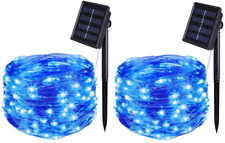 2 Pack Solar String Lights Outdoor 16.4Ft 50LEDS Starbright IP65 Waterproof Wire