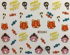 Nail Art 3D Decal Stickers Happy Halloween Candy Reeper Pumpkin E061
