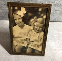 Older Vintage Ornate Gold/Brass Tone Metal Photo Picture Frame - Girls Bows Book