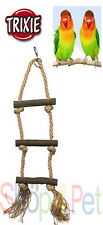 BIRD TOY LADDER FOR CAGE TRIXIE PET NATURAL WOOD ROPE + CLIP BUDGIE CANARY SMALL