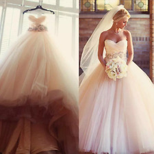 Charming Blush Pink Wedding Dresses 2017 Tulle Beaded Country A Line Bridal Gown