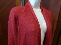 Coldwater Creek Red Open Cardigan Sweater Cape Size Large Solid Chevron Zig Zag