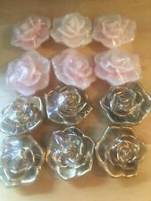 Lot of 12 Gold Pink Rose Floating Candles Wedding Sweet 16 Party Supplies New