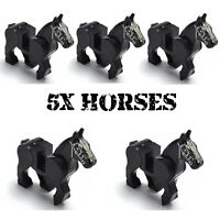 WWII 5x Horses Army Soldier Mini Figures Military War Horse WW2 Weapons Fit Lego