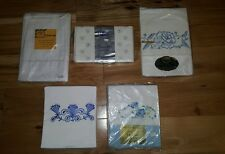 NEW 9 Vintage Pillowcases EMBROIDERED PLAIN Dan River 1950's 60's Muslin Luxury