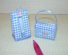 Miniature Baby Diaper Bag/Diaper Stacker, BLUE Gingham (TYPE A): DOLLHOUSE 1:12