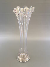 Antique clear pressed glass trumpet vase 1890's 1900's