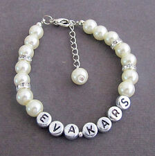 Pearl Child Name Bracelet,Bridesmaid Bracelet,Personalized Wedding Bracelet Gift