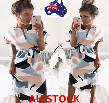 AU Women Short Sleeve Irregular Printed Dress Formal Casual Cocktail Party Dress
